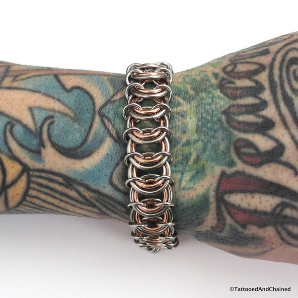 Copper & steel chainmaille vertebrae bracelet - Tattooed and Chained Chainmaille  - 4