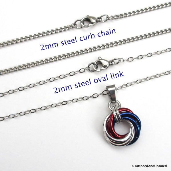 Patriotic USA pendant, chainmaille love knot - Tattooed and Chained Chainmaille  - 2