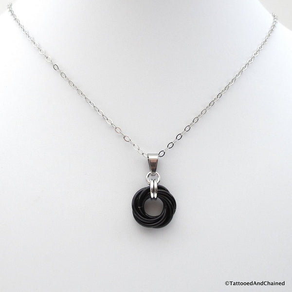 Black pendant, chainmaille love knot - Tattooed and Chained Chainmaille  - 4