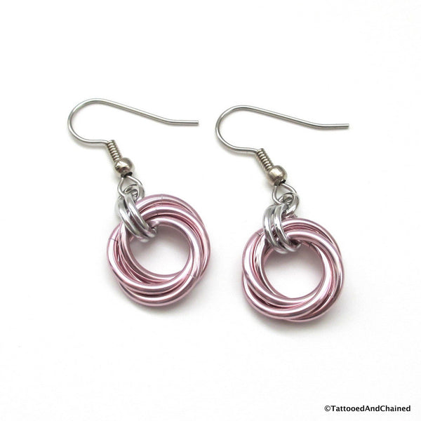 Pastel pink earrings, chainmaille love knot - Tattooed and Chained Chainmaille  - 4