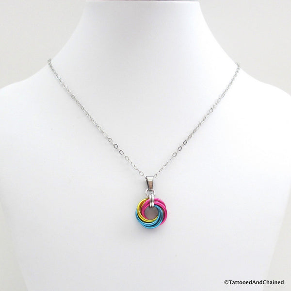 Pansexual pride chainmaille love knot pendant; pink, yellow, light blue - Tattooed and Chained Chainmaille  - 2