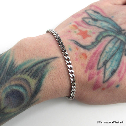 4mm stainless steel curb chain bracelet - Tattooed and Chained Chainmaille  - 1