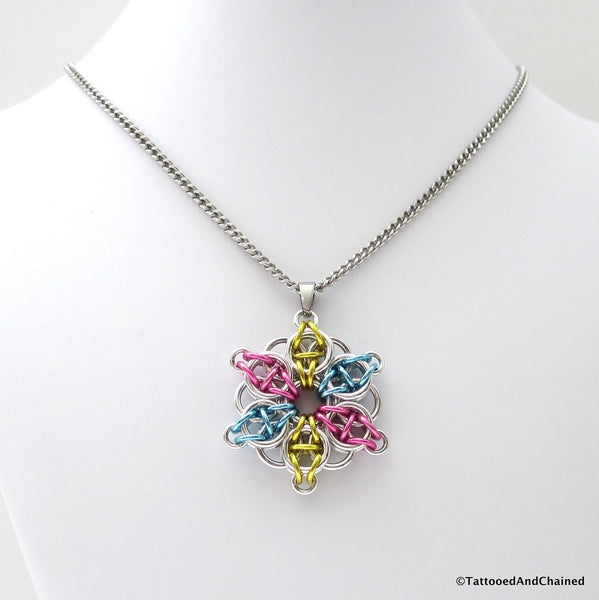 Pansexual pride pendant, chainmaille Celtic star; pink, yellow, light blue - Tattooed and Chained Chainmaille  - 3