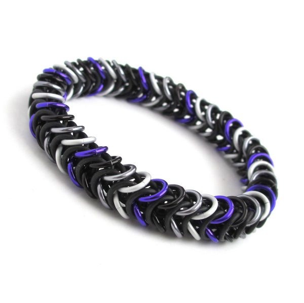 Ace pride stretchy bracelet, chainmaille box chain - Tattooed and Chained Chainmaille  - 2