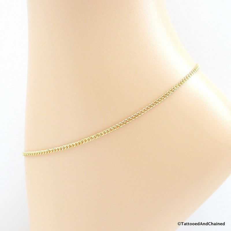 Jewelry brass curb chain anklet - Tattooed and Chained Chainmaille  - 1