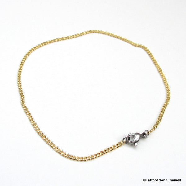 Jewelry brass curb chain anklet - Tattooed and Chained Chainmaille  - 2