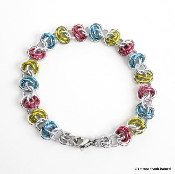 Pansexual pride bracelet, chainmaille barrel weave - Tattooed and Chained Chainmaille  - 4
