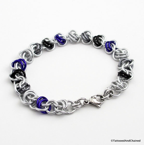 Asexual pride bracelet, chainmaille barrel weave - Tattooed and Chained Chainmaille  - 2