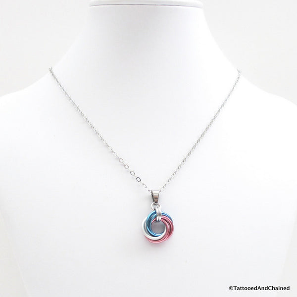 Transgender pride chainmaille love knot pendant; pink, white, light blue - Tattooed and Chained Chainmaille  - 4