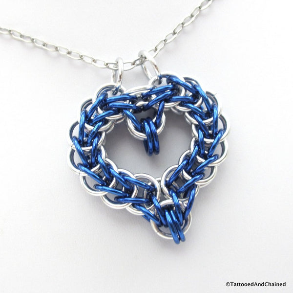Blue chainmaille heart pendant - Tattooed and Chained Chainmaille  - 1