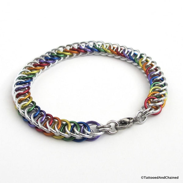 Gay pride bracelet, rainbow half Persian 4 in 1 chainmaille - Tattooed and Chained Chainmaille  - 2