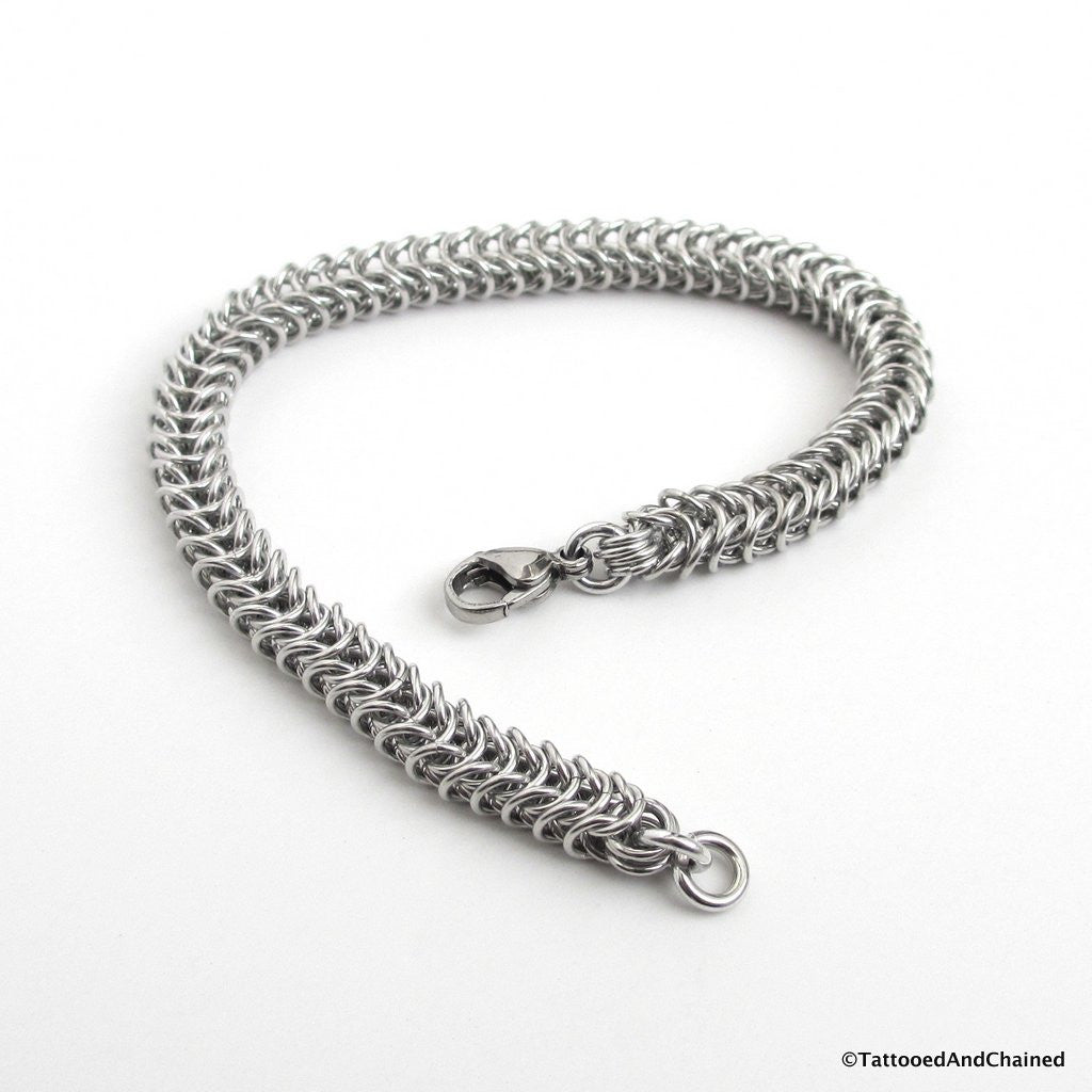 Silver aluminum box chain chainmaille bracelet, 20 gauge - Tattooed and Chained Chainmaille  - 1