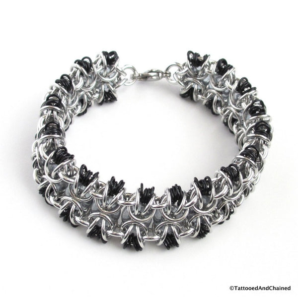 Glass chainmaille bracelet; gray, black and silver - Tattooed and Chained Chainmaille  - 5