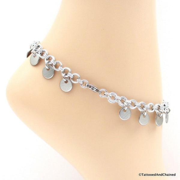 Chainmaille anklet with confetti disc dangles - Tattooed and Chained Chainmaille  - 2