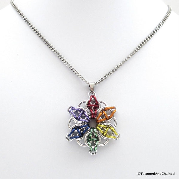 Gay pride chainmaille star pendant; rainbow - Tattooed and Chained Chainmaille  - 4