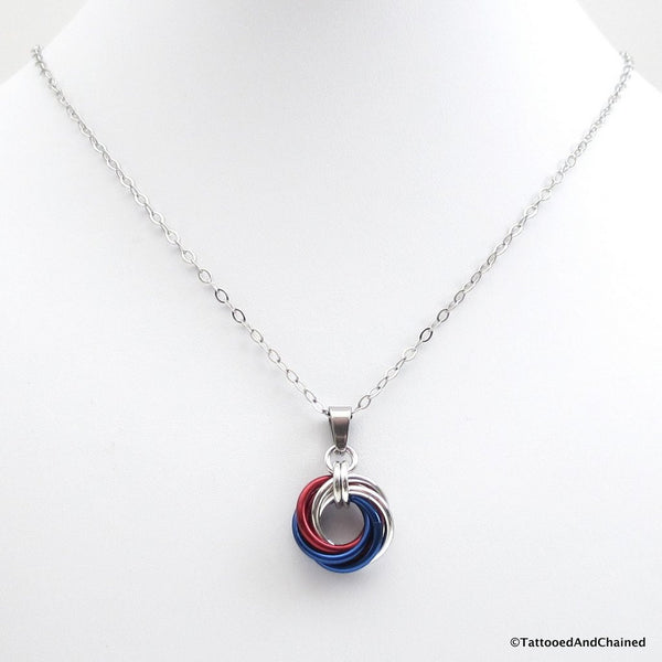Patriotic USA pendant, chainmaille love knot - Tattooed and Chained Chainmaille  - 3
