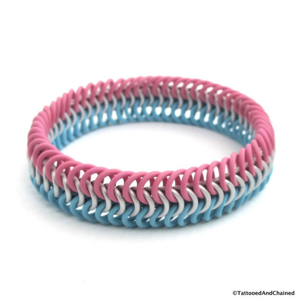 Transgender pride chainmaille stretchy bracelet, European 6 in 1 weave - Tattooed and Chained Chainmaille  - 3