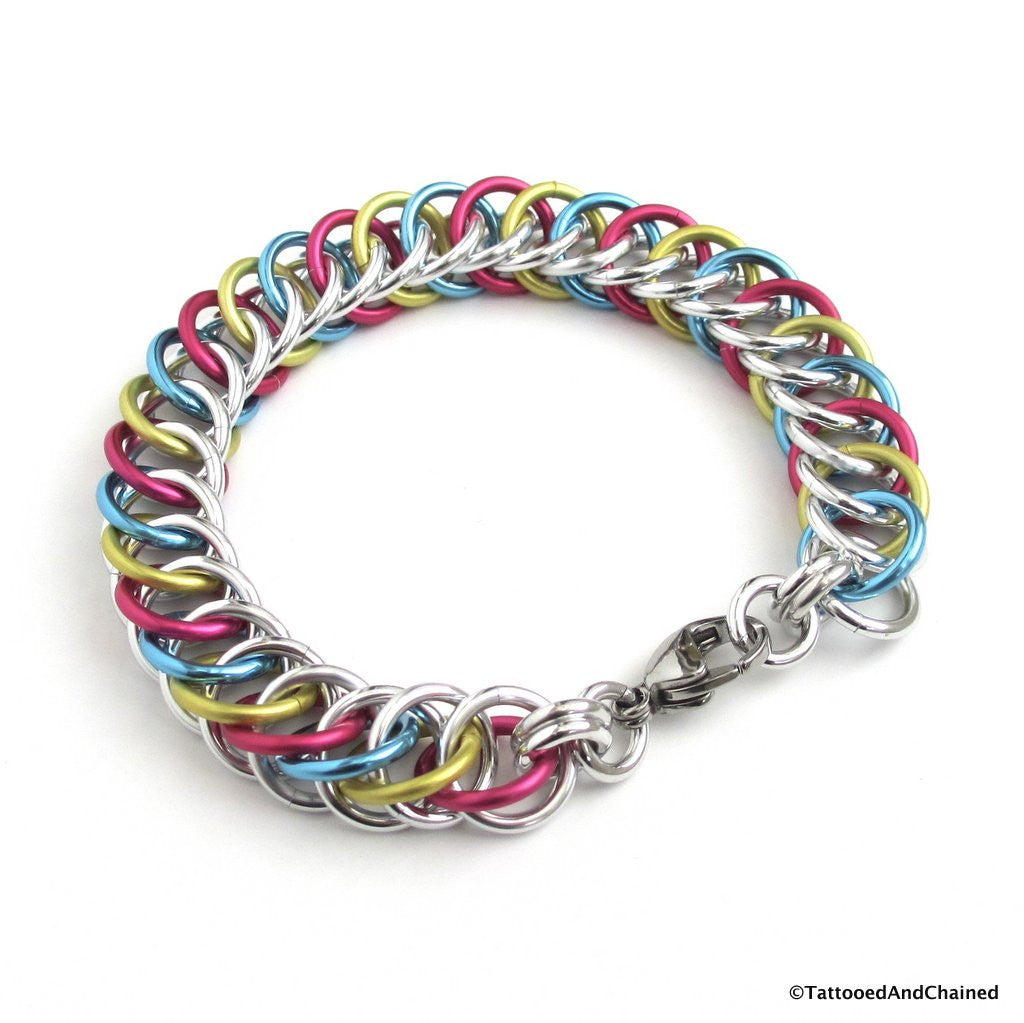 Pansexual pride bracelet, chainmaille half Persian 4 in 1 weave - Tattooed and Chained Chainmaille  - 1