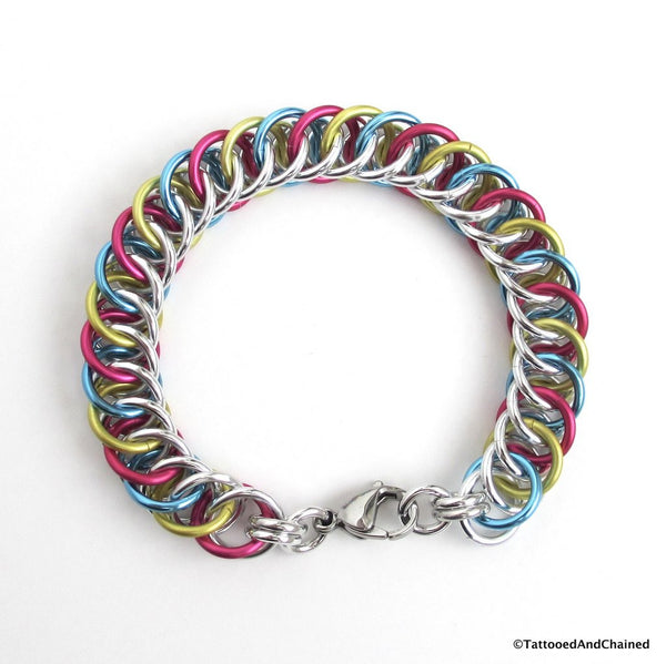 Pansexual pride bracelet, chainmaille half Persian 4 in 1 weave - Tattooed and Chained Chainmaille  - 2
