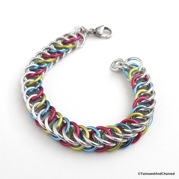 Pansexual pride bracelet, chainmaille half Persian 4 in 1 weave - Tattooed and Chained Chainmaille  - 3