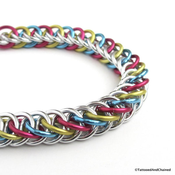 Pansexual pride bracelet, chainmaille half Persian 4 in 1 weave - Tattooed and Chained Chainmaille  - 4