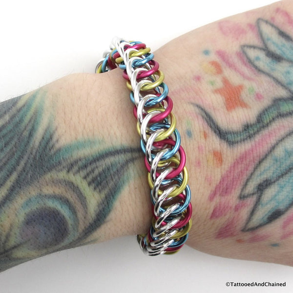 Pansexual pride bracelet, chainmaille half Persian 4 in 1 weave - Tattooed and Chained Chainmaille  - 5