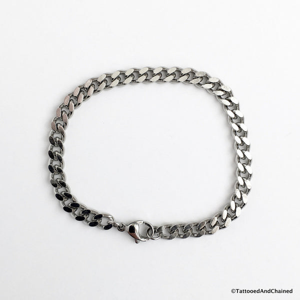 5mm stainless steel curb chain bracelet - Tattooed and Chained Chainmaille  - 5