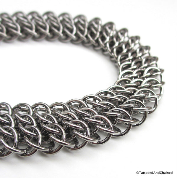 Wide stainless steel anklet, chainmaille half Persian 3 sheet 6 in 1 - Tattooed and Chained Chainmaille  - 5
