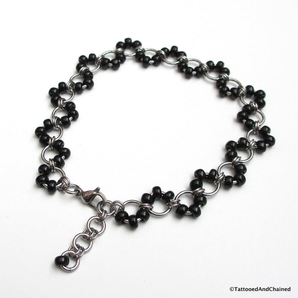 Black beaded chainmaille anklet, stainless steel - Tattooed and Chained Chainmaille  - 5