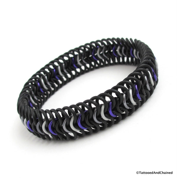 Ace pride chainmaille stretchy bracelet, European 6 in 1 weave - Tattooed and Chained Chainmaille  - 4