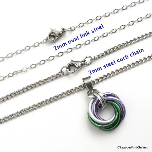 Genderqueer pride chainmaille love knot pendant; lavender, white, and green - Tattooed and Chained Chainmaille  - 3