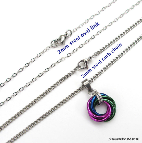 Green, blue, and violet pendant, chainmaille love knot - Tattooed and Chained Chainmaille  - 2