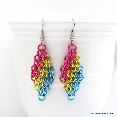 Pan pride earrings, chainmaille European 4 in 1 weave - Tattooed and Chained Chainmaille  - 1