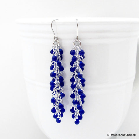 Cobalt blue beaded chainmaille earrings, Shaggy Loops weave - Tattooed and Chained Chainmaille  - 1