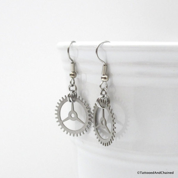 Small steampunk gear earrings, 3 spoke gear - Tattooed and Chained Chainmaille  - 5