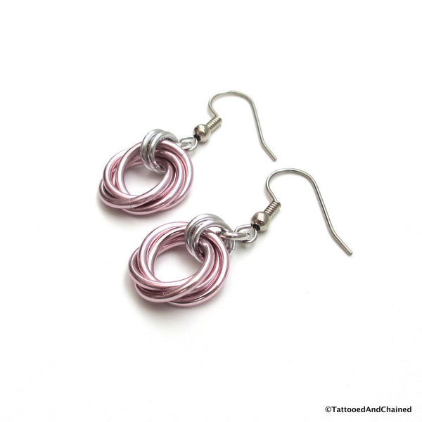 Pastel pink earrings, chainmaille love knot - Tattooed and Chained Chainmaille  - 2