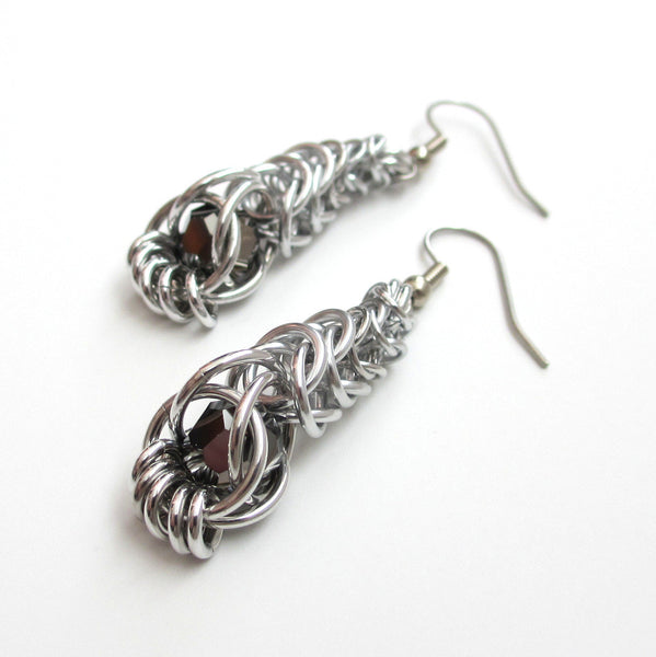 Chainmaille graduated box chain earrings with captive gray crystals - Tattooed and Chained Chainmaille  - 3