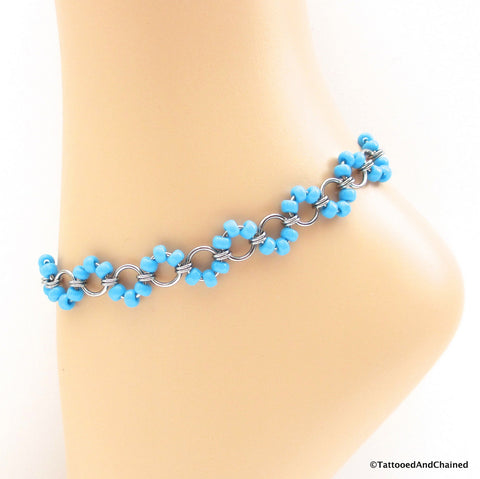 Turquoise blue beaded chainmaille anklet, stainless steel - Tattooed and Chained Chainmaille  - 1