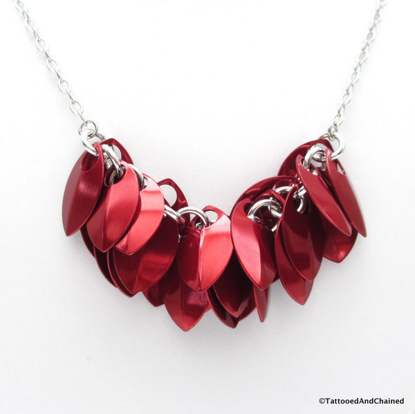 Red chainmaille scales necklace - Tattooed and Chained Chainmaille  - 2