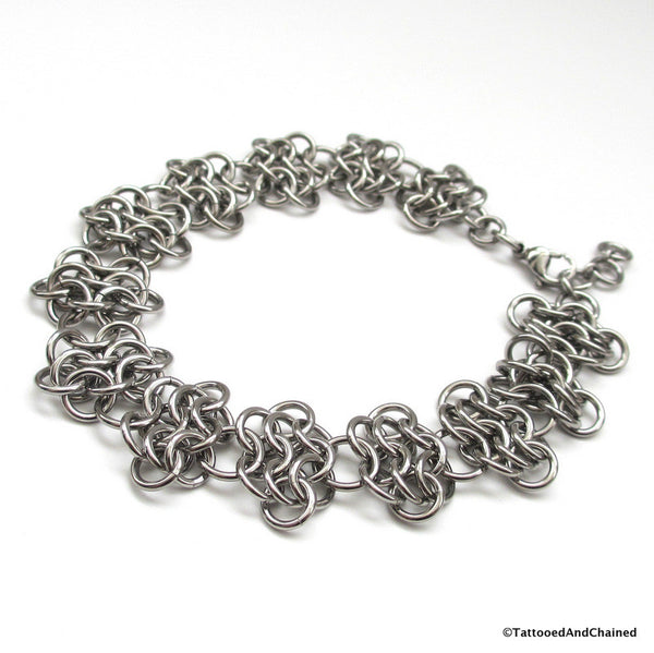 Stainless steel anklet, chainmaille rosettes weave - Tattooed and Chained Chainmaille  - 3