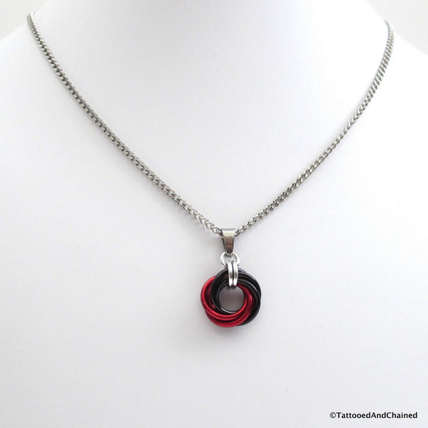 Red and black pendant, chainmaille love knot - Tattooed and Chained Chainmaille  - 4