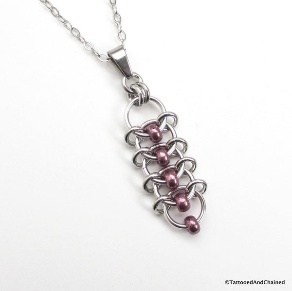 Eggplant purple beaded chainmaille pendant, centipede weave - Tattooed and Chained Chainmaille  - 1
