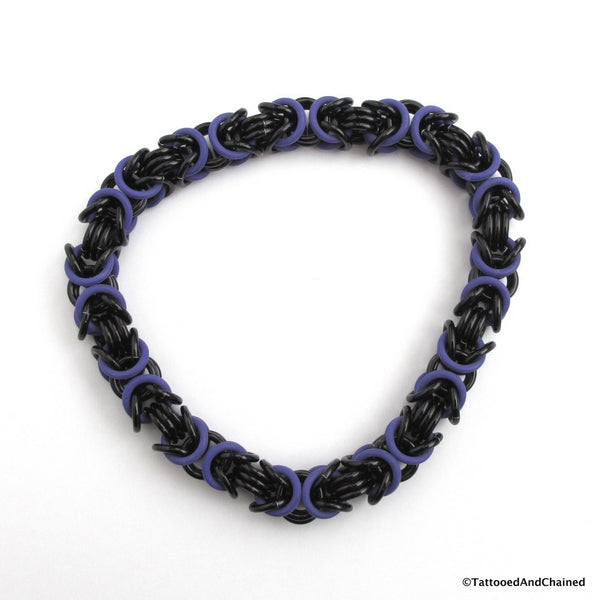 Byzantine chainmaille stretchy bracelet, purple and black - Tattooed and Chained Chainmaille  - 4