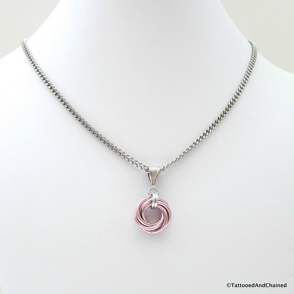 Pastel pink pendant, chainmaille love knot - Tattooed and Chained Chainmaille  - 3