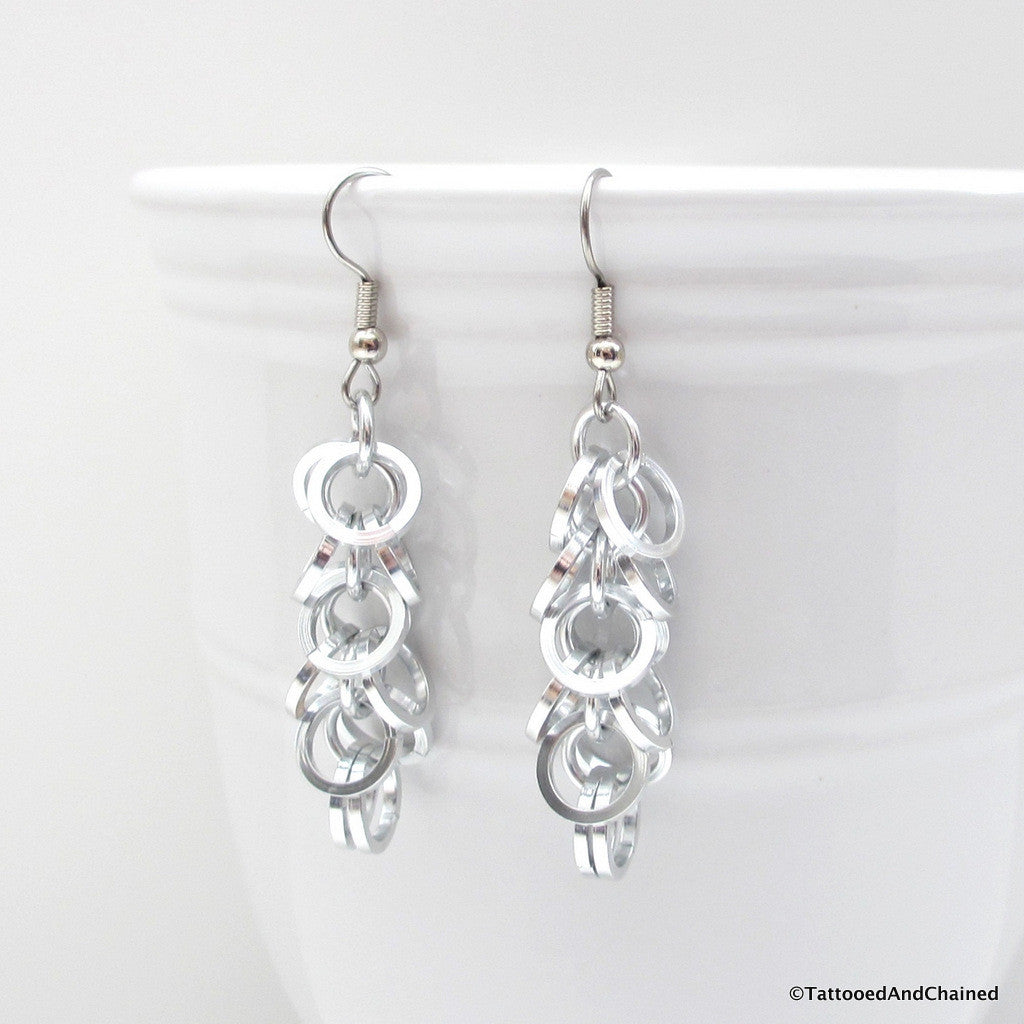 Square wire shaggy loops chainmaille earrings - Tattooed and Chained Chainmaille  - 1