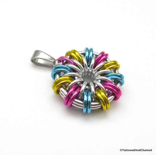 Pansexual pride pendant; pink, yellow, light blue - Tattooed and Chained Chainmaille  - 3