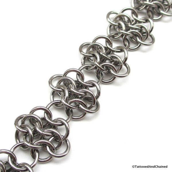 Stainless steel anklet, chainmaille rosettes weave - Tattooed and Chained Chainmaille  - 4
