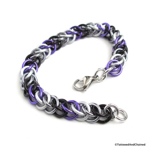 Ace pride bracelet, chainmaille half Persian 3 in 1 weave - Tattooed and Chained Chainmaille  - 1