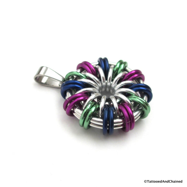 Green, violet, and blue chainmaille pendant - Tattooed and Chained Chainmaille  - 5