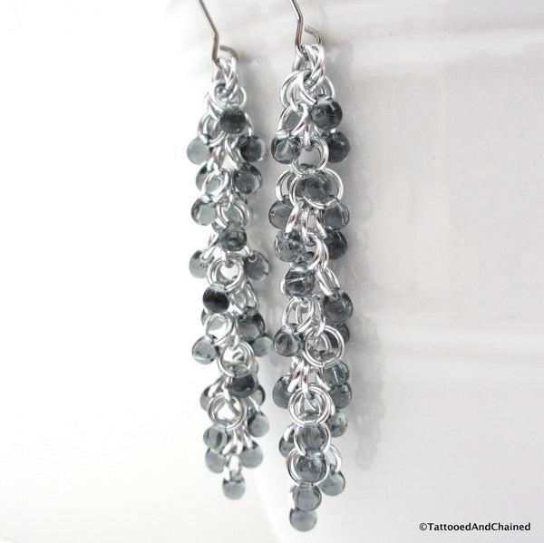 Gray beaded chainmaille earrings, Shaggy Loops weave - Tattooed and Chained Chainmaille  - 3